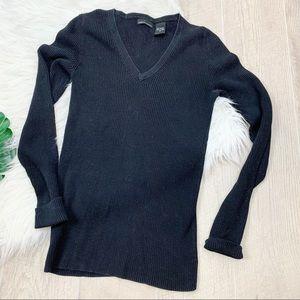 Moda Black Long Sleeve Vneck Knitted Shirt B1569